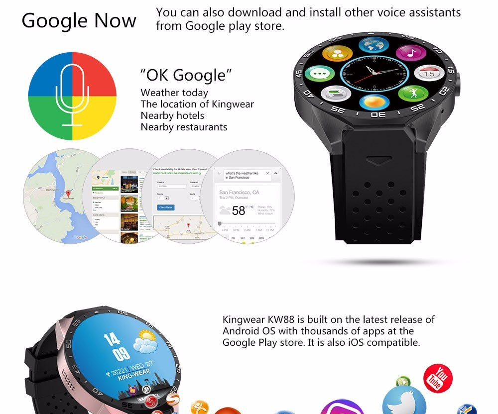 Smart Watch KW88 3G WiFi GPS Quadcore Bluetooth Android Smart Watch
