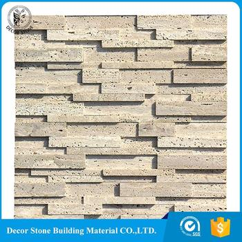 Beige travertine 3D bathroom wall Tiles stacked stone panel