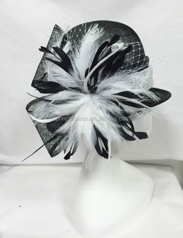 Black white church hat sinamay hat derby hat party hat factory wholesale