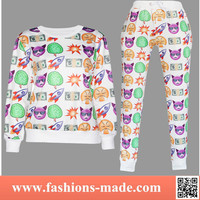 2015 Womens Fashion 3D Custom Sweat Suits Cheap Jogging Hoodies Shirts and Pants Sportwear