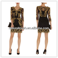 Embroidery dress design,ladies beautiful cropped sleeve party/casual dresses(YDQ03252)
