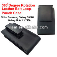 Hot Selling 360 Degree Rotation Clip Black Color Leather Belt Loop Holster Pouch Case for Samsung Galaxy Note 2 N7100