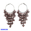 women's nice red crystal hoop earrings costume decorations