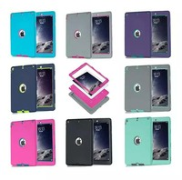 3 In 1 Hybrid Shockproof Colorful Rubber Rugged Cover Case For iPad Air