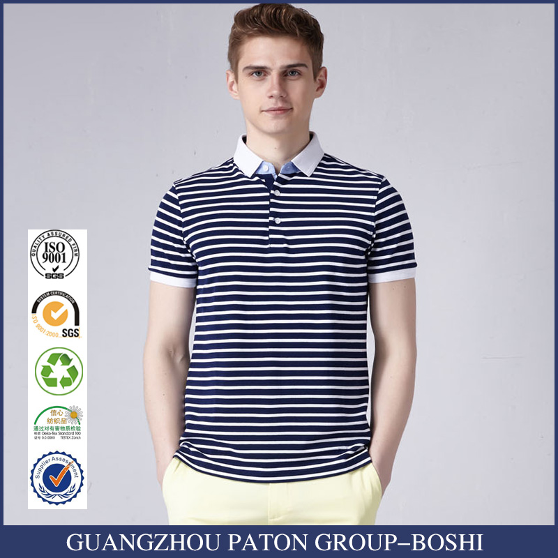 Custom Cotton Short Sleeve Striped Polo T Shirt For Men