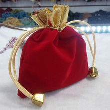 12x10cm Dark Red Custom Jewelry Bag Velvet Pouch Gift Bags With Drawstring Jewellery