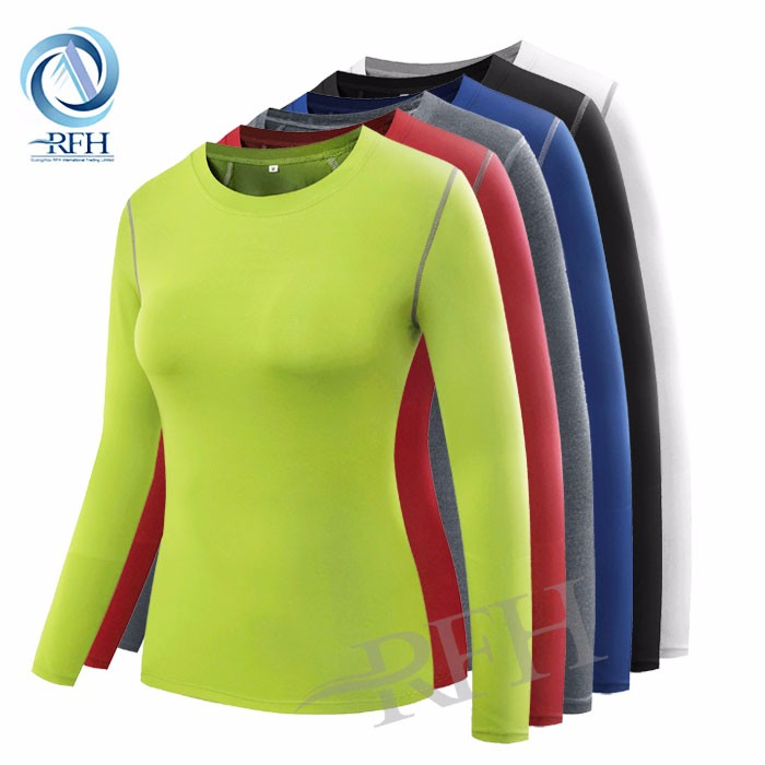 Wholesale Custom your own logo Blank Long Sleeve Women Athletic Compression Sport Gym Dry Fit T Shirts