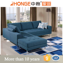 metal legs living room furniture L-shaped sofa, fabric corner sofa with chaise lounge