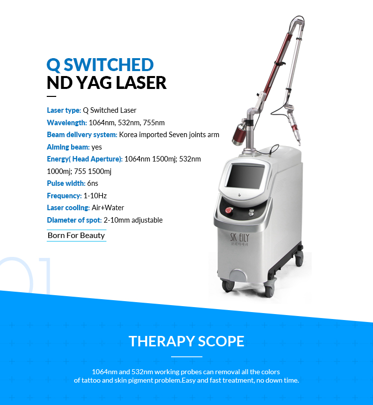 Seven arm joint tattoo removal q switched spa nd yag laser machine