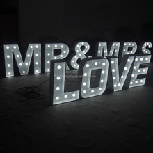 Mr&Mrs love marquee sign letters customized size Led bulb lighting letters