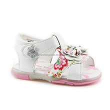 Infant Girls Princess Mary Jane Flat Flowered Sandals with Bowknot and Snowflake Buckle New Design for Year 2017