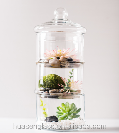 Trade assurance supplier-Hanging oval handblown glass terrarium with holes Air plant glass vases