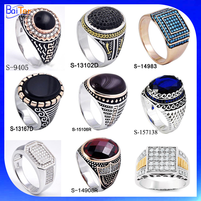 Fashion Turkish Ring Jewelry 925 Sterling Silver Mens Black Onyx Ring For Men