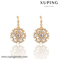 91459-xuping fashion jewelry beautiful 18k gold white stone hook earrings