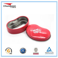 bean shaped small tin container lip balm tin can, printed metal tin box with FDA certificate