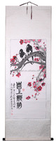 Handmade oriental flower with bird traditional paiting with chinese calligraphy by famous Artist Qi LingGen