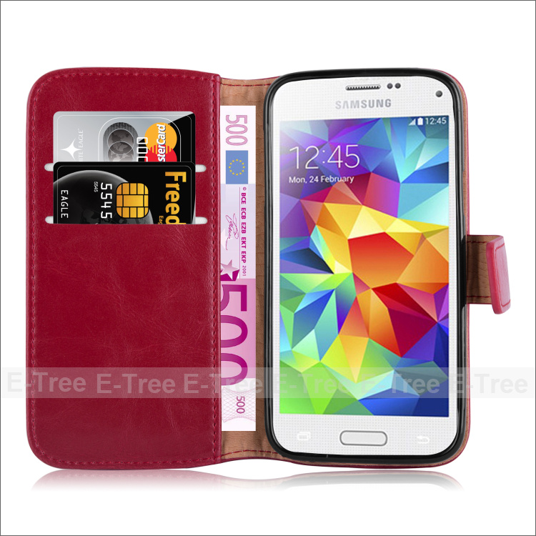 For Samsung Galaxy S5 Mini Crazy Horse Pattern Leather Phone Case With Credit Card Slots