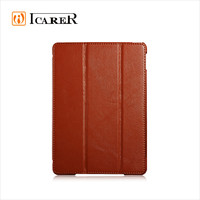 ICARER Real Leather Case for iPad Air 2 Flip Cover Litchi Series