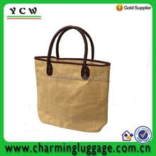 Eco-friendly natural color jute shopping tote bag