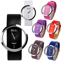 Synthetic Leather Transparent Dial Lady Wrist Watch