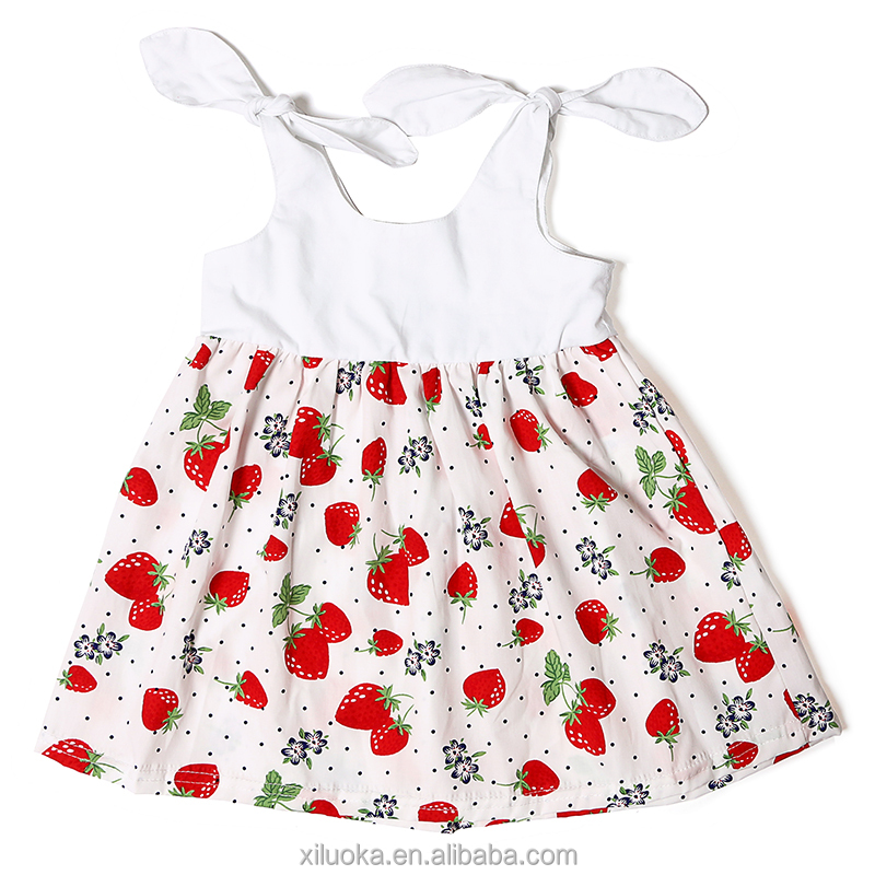 Newborn sweet toddler clothing strawberry printed fancy dresses for baby girl