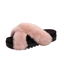 Comfortable thick sole pink fluffy slippers faux fur indoor outdoor slippers