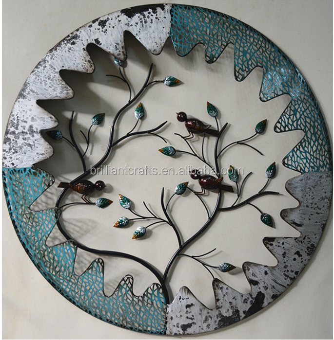 Home Decorative Iron Crafts Birds Tree Metal Wall Art Decor