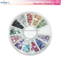 BDW0012 Beauty Professional Square Manicure 3D Nail Art Decorations Wheel With Gold And Silver Metal Studs
