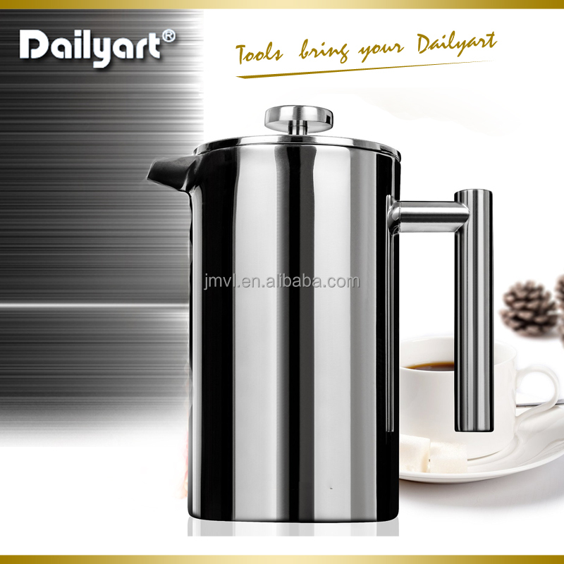 Double-Wall Keep Warm Shinny Cafetiere Coffee Filter Stainless Steel French Press