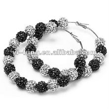 Basketball Wives Paparazzi Celebrity Style Black Silver Gunmetal Fireball Crystal Bead Hoop Earrings