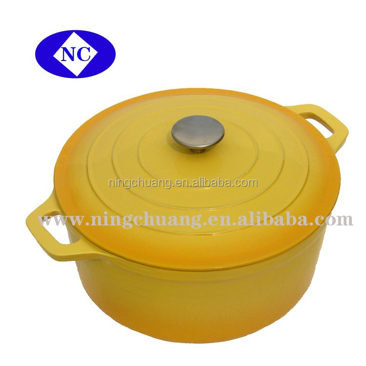 cast iron cooking easy clean enamel pot