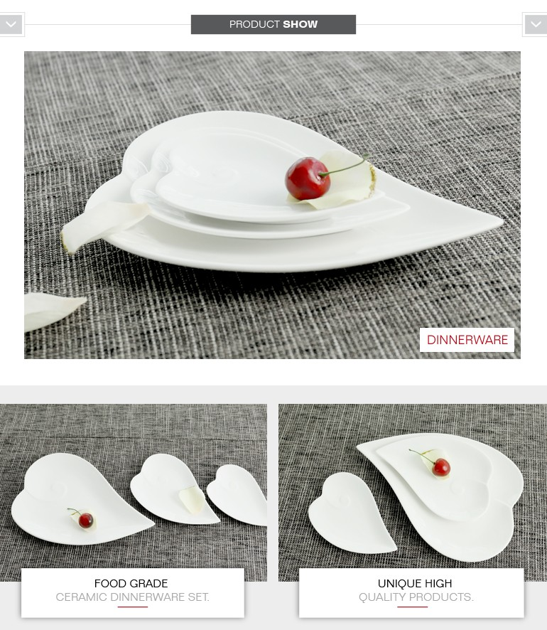 christmas decorations white ceramic heart shaped plates for home restaurant