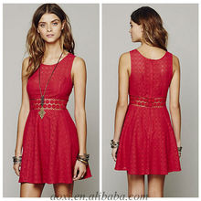 OEM provide women red elegant fashion casual lace cotton sleeveless dress
