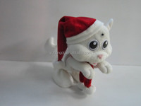white happy dancing cat with Christmas hat