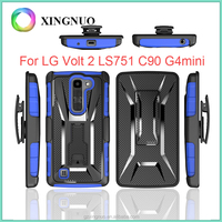 Rugged Armor Holster Case Cover Case For LG Volt 2 LS751 C90 G4 Mini With Kickstand and Locking Belt Swivel Clip