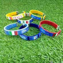 Free Sample Custom Hand made Italy National Flag Bangle Cheap Thread Woven Bangle promotion advertisement Italy Plastic Bracelet