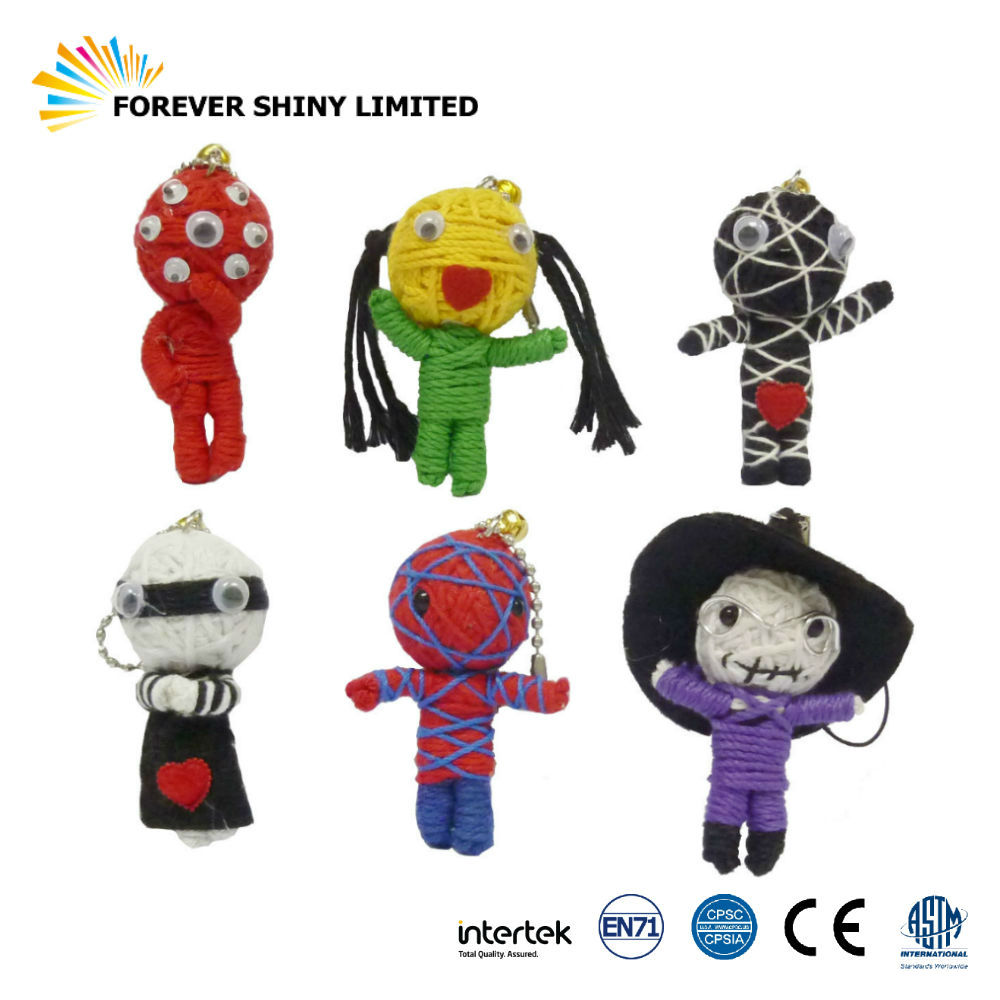 Wholesales Small Capsules Toys String Fun Assorted Monster Voodoo Dolls Key Chain for Vending Machines