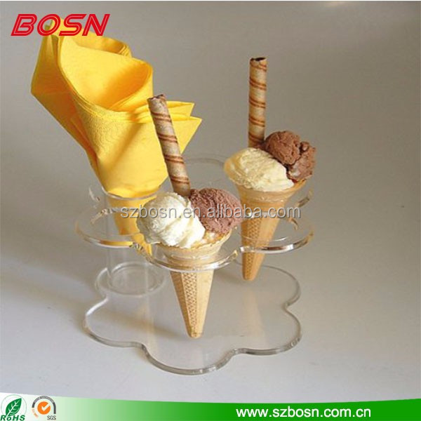Wholesale clear acrylic ice cream cone holder display stand for sale
