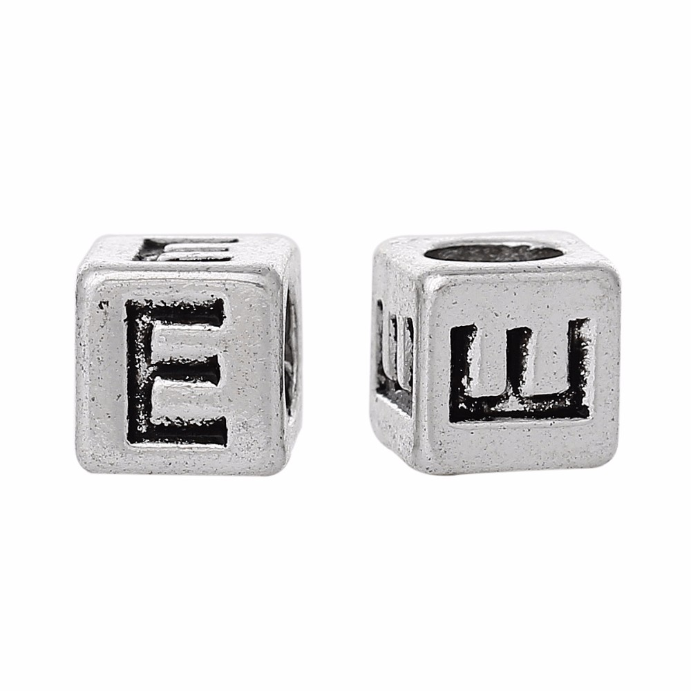 "Wholesale Silver Tone Alphabet/Letter ""E"" Charms Beads"