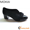 MK084-1 BLACK thick low heel real leather made fashion design bowknot footwear casual shoes