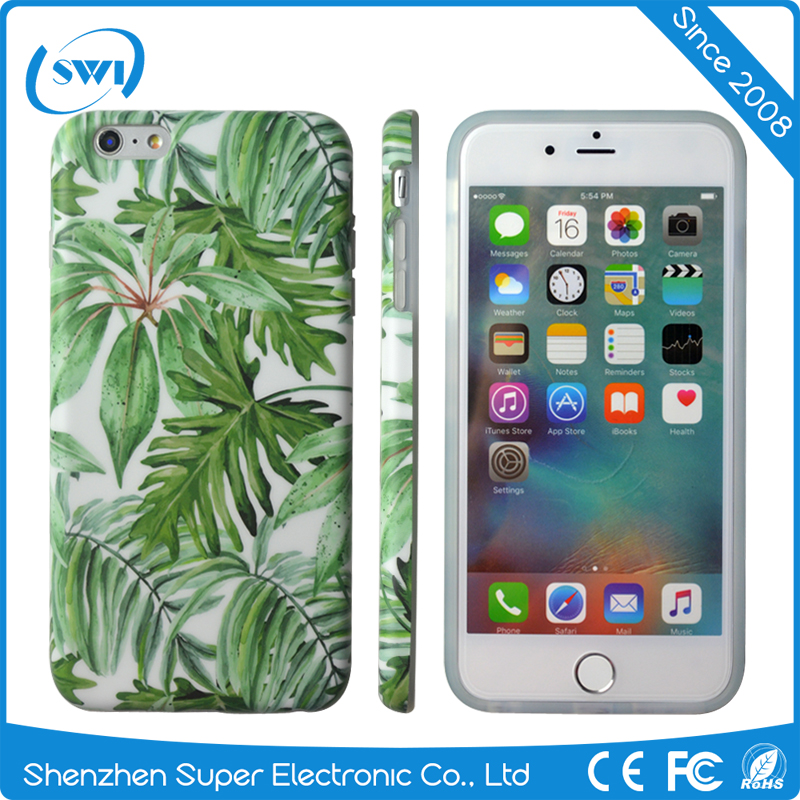 Low China Price IMD Green Leaf Design TPU Protective Back Cases Cover For iPhone 6 6S 6 Plus In Shenzhen