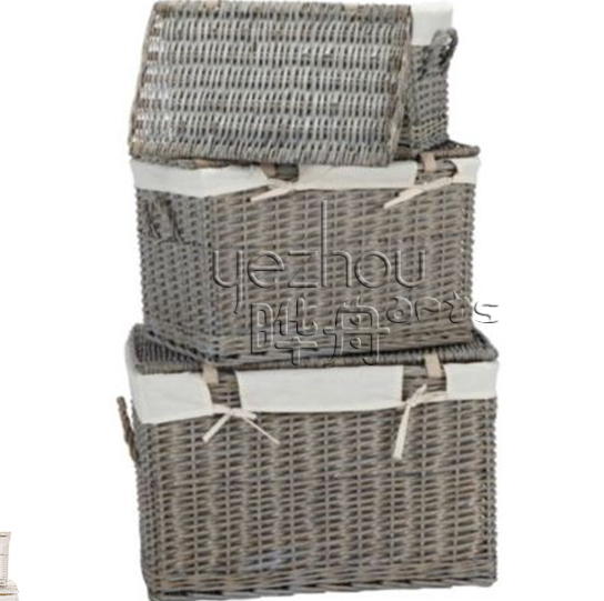Woven Basket Procedure : Wicker storage trunk and basket with calico lining buy