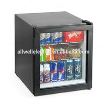 Glass door small hotel used thermoelectric mini fridge with lock and key