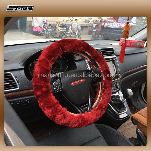 Sheepskin Car Pink Steering Wheel Cover car seat covers