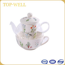 2015 Beautiful 500ml glass teapot set with 400ml porcelain tea cup teapot with cups