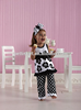 European Kids Baby Floral Pattern Clothes Black & White Dots Ruffle Outfits Wholesale Clothing Set