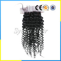 Wholesale facotry price 7A virgin malaysian hair kinky curly silk base/top Swiss lace closure natural looking with baby hair