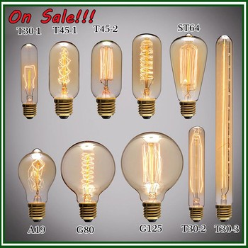 2016New Hot Search vintage edison light bulbs A19 ST64 G125 C35 T45 T30 15W 25w 40w 60w E12 E14 E27 E26 B22 edison bulb lamps