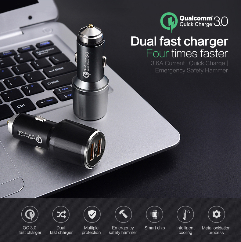 Newest CE FCC RoHS Metal Safety Hammer Car Charger Dual Qc 3.0 Quick Car Charger