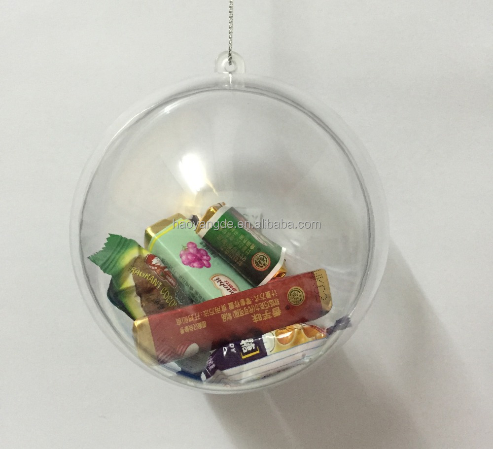 Large Openable Clear transparent Christmas ball Xmas Hanging bauble balls